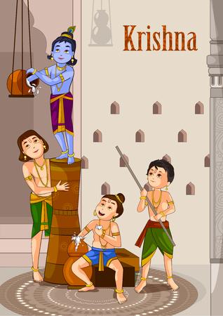 An vector illustration of Krishna Janmashtami
