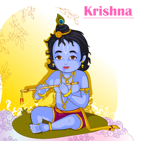 Little Krishna playing bansuri flute on Janmashtami Illustration