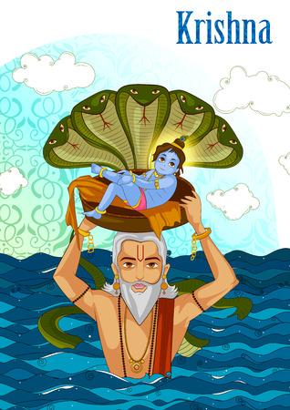 Vasudev carrying little Krishna with Kaliya Naag on Janmashtami Illustration