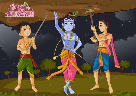 illustration of Krishna Janmashtami