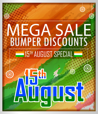 15th August, Happy Independence Day of India shopping sale and promotion advertisement background in vector Illustration