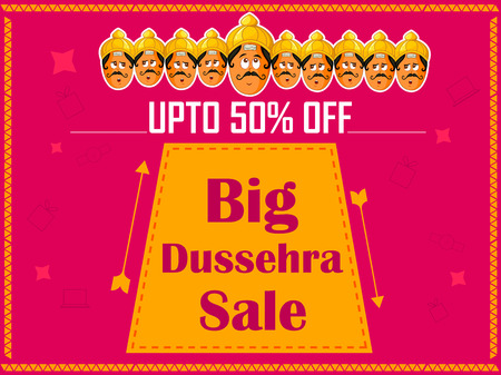 Happy Dussehra Sale Promotion Advertisement template background for Navratri festival of India Illustration