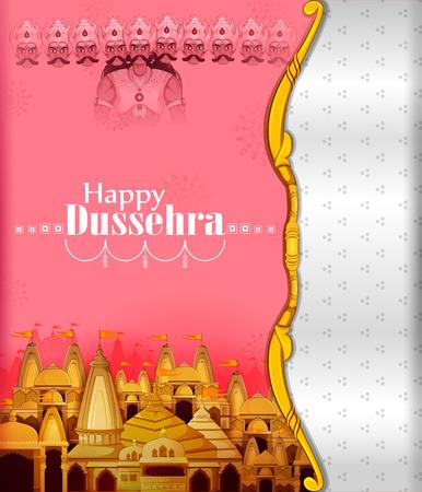 Ten headed Ravana on Happy Dussehra festival background