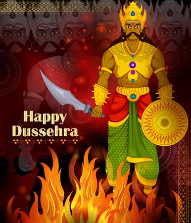 Ten headed Ravana on Happy Dussehra festival background in vector