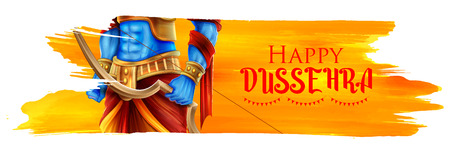 Lord Rama in Navratri festival of India poster for Happy Dussehra 向量圖像