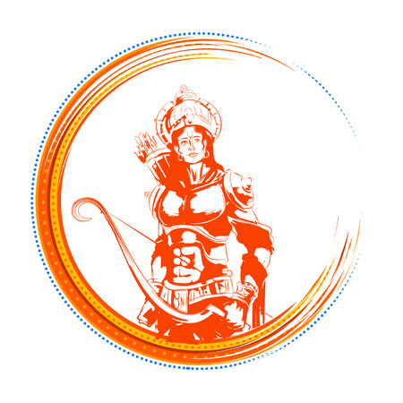 Lord Rama in Navratri festival of India poster for Happy Dussehra Imagens
