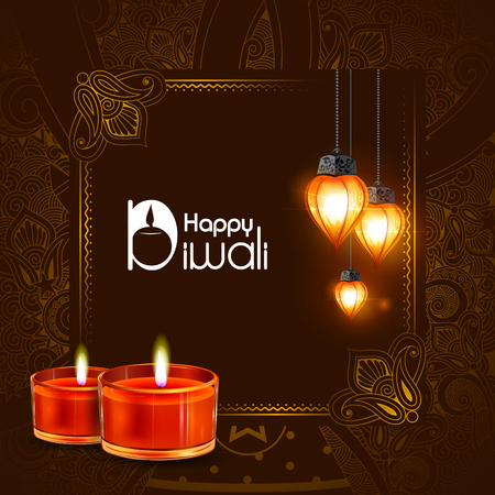 Illustration of decorated diya for Happy Diwali holiday background