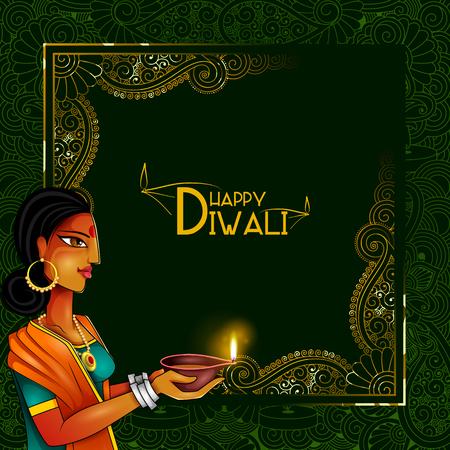 Illustration of lady holding decorated diya for Happy Diwali holiday background