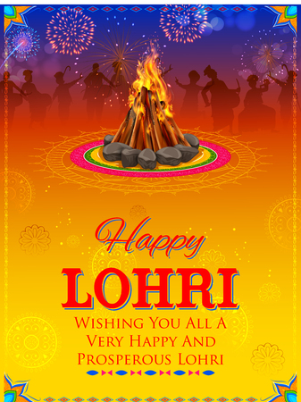 illustration of Happy Lohri holiday background for Punjabi festival Illustration