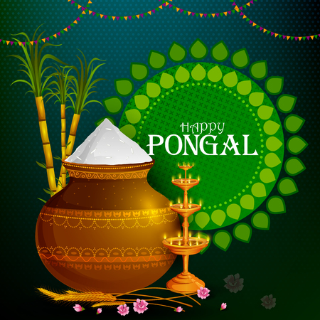 Happy Pongal religious holiday background for harvesting festival of India