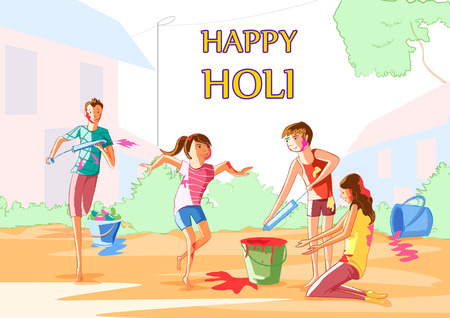 Indian people celebrating festival of Color Holi
