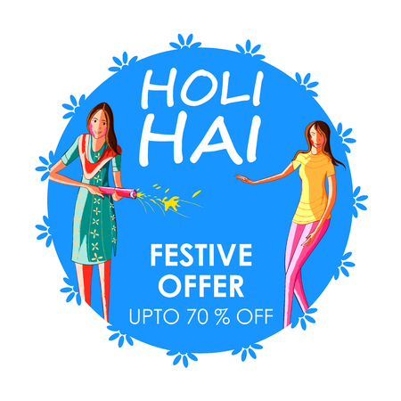 Colorful Traditional Holi Shopping Discount Offer Advertisement background for festival of colors of India Illustration
