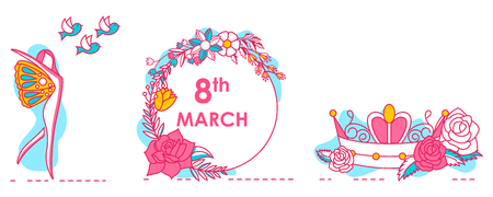 Greeting background for celebrating International Happy Women's Day in vector