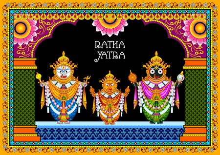 Rath Yatra Lord Jagannath festival Holiday background celebrated in Odisha, India Çizim