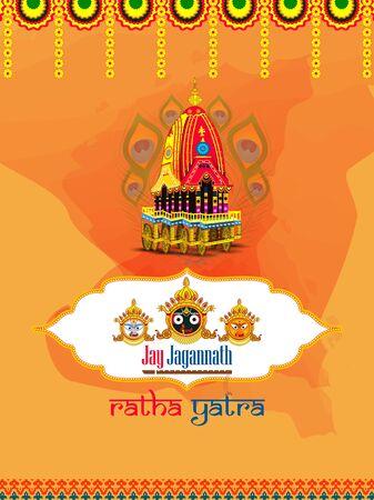 Rath Yatra Lord Jagannath festival Holiday background celebrated in Odisha, India Ilustracja