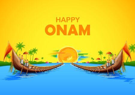Ilustración de la carrera de serpientes en el fondo de celebración de Onam para el festival Happy Onam del sur de la India, Kerala