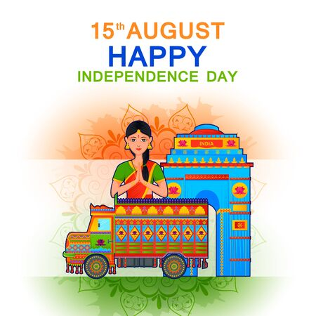 15th August Independence Day of India tricolor background Illustration