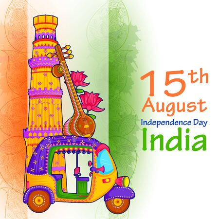 15th August Independence Day of India tricolor background Vetores