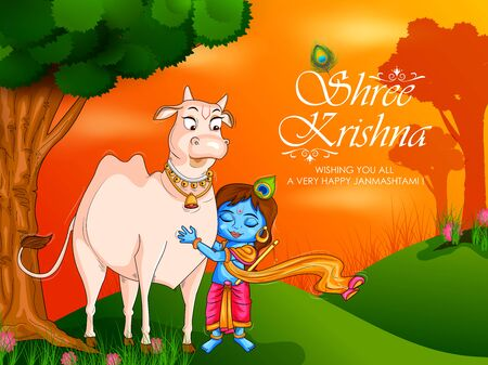 Kanha with Cow on Krishna Janmashtami festival background of India in vector
