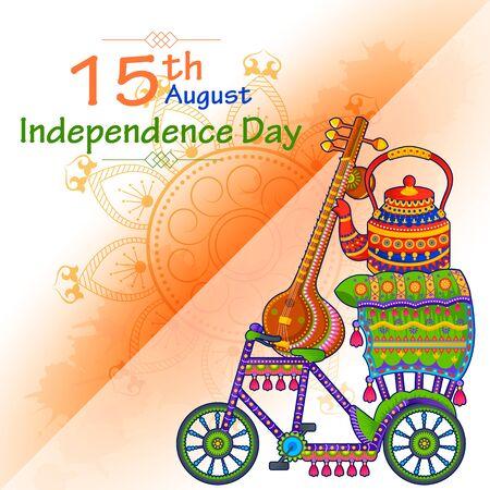 15. August Unabhängigkeit von Indien tricolor Hintergrund in Vektor