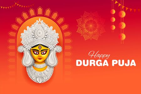 illustration of Goddess Durga Face in Happy Durga Puja Subh Navratri Indian religious header banner background Ilustração