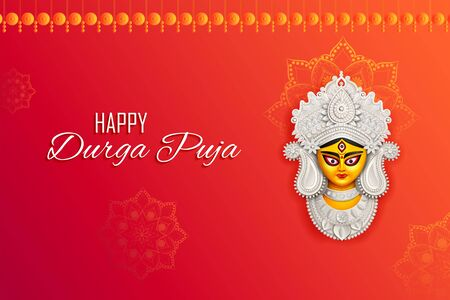 illustration of Goddess Durga Face in Happy Durga Puja Subh Navratri Indian religious header banner background Çizim