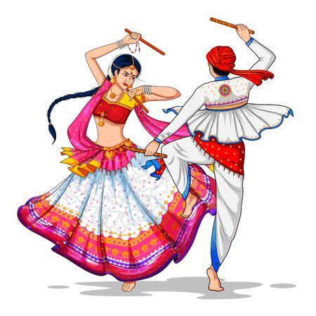 Ilustración de una pareja tocando Dandiya en la discoteca Garba Night banner poster para el festival Navratri Dussehra de la India