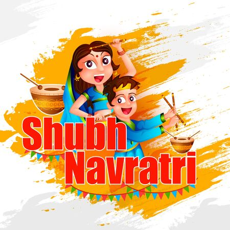 Couple performing Garba dance in Dandiya Raas for Dussehra or Navratri in vector