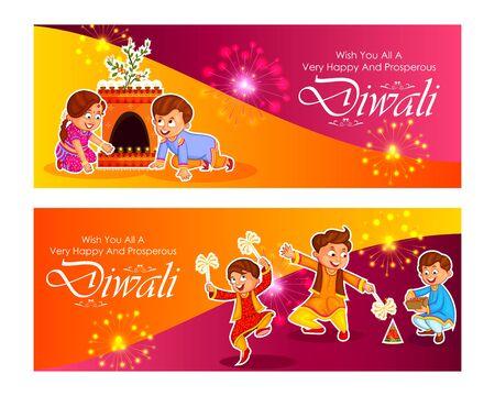 Fondo de saludo feliz festival de luz de Diwali de la India Ilustración de vector