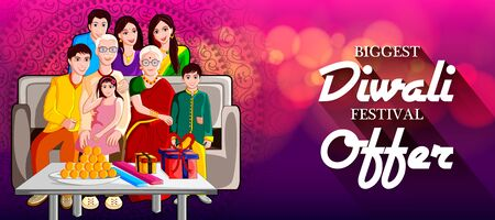 easy to edit vector illustration of Indian family wishing Diwali on Hindu festival of India Sale promotion advertisement background