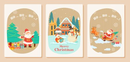 Santa Claus in Merry Christmas holiday greeting card background in vector