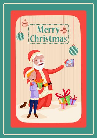 Santa Claus in Merry Christmas holiday greeting card background Ilustracja