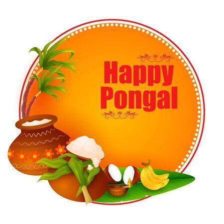 Fondo de fiesta religiosa feliz Pongal para el festival de la cosecha de la India