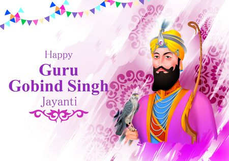Happy Guru Gobind Singh Jayanti religious festival celebration of Sikh in Punjab India