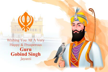 easy to edit vector illustration of Happy Guru Gobind Singh Jayanti religious festival celebration of Sikh in Punjab India Ilustrace