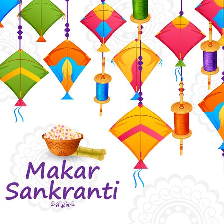 Happy Makar Sankranti harvest festival of India celebration background Illustration