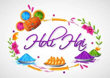 Colorful Traditional Holiday background for festival of colors of India with Hindi text Holi Hai meaning Its Holi in vector