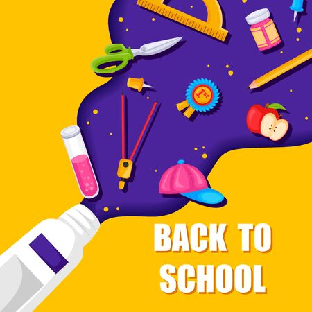 Back to School concept with book, pen, pencil and other stationery object in vector Vecteurs