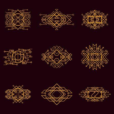 Golden vintage victorian art decor decorative ornamental divider design frames for elegant banner creative template design for wedding invitation card