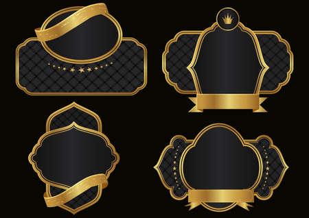 Victorian heraldic retro vintage decorative Ornate golden label for wine bottle and luxury branding