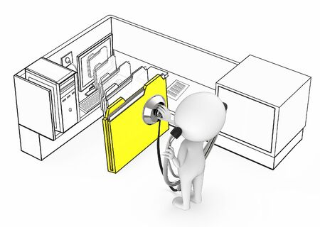 3d white guy wearing stethoscope and diagnosing file folder coming out from a monitor of a computer inside a office cubicle- 3d rendering