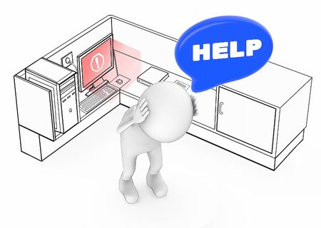 3d white guy worried stressed and in need of help when his computer becomes unstable  error inside a office cubicle - 3d rendering
