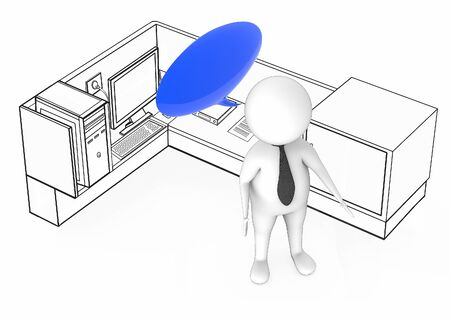 3d white guy with empty speech bubble standing inside a office cubicle - 3d rendering