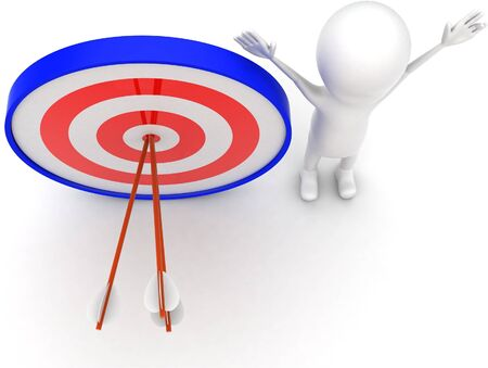 3d man with perfectly aimed arrows on target board concept on white background - 3d rendering , top angle view