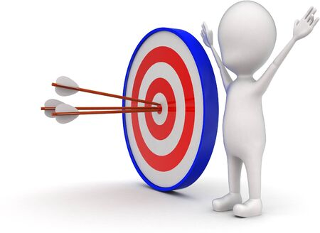 3d man with perfectly aimed arrows on target board concept on white background - 3d rendering , side angle view Stok Fotoğraf