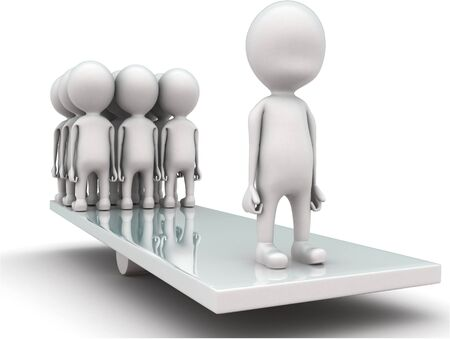 3d men standing seesaw one man on on side and group of men on other side concept on white background, front angle view Stock Photo