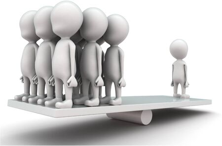 3d men standing seesaw one man on on side and group of men on other side concept on white background, side angle view