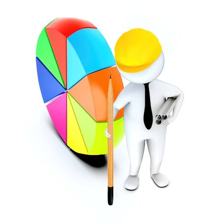 3d white guy , wearing hard helmet holding drafts and a pencil , architect , engineer -pie chart vertical stand on ground - 3d rendering