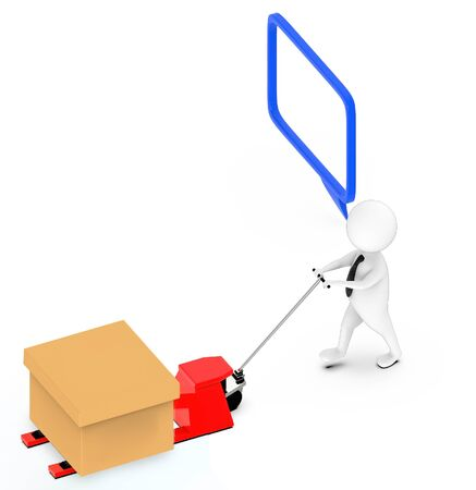 3d white guy , moving a pallet , unloader truck -hollow speech bubble - 3d rendering Stockfoto