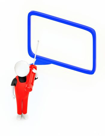 3d white guy , holding a screw driver -hollow speech bubble - 3d rendering